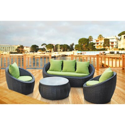 Triumph 4 Piece Seating Group with Cushions Fabric: Green