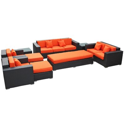 Eclipse 9 Piece Deep Seating Group with Cushions Finish: Espresso, Fabric: Orange