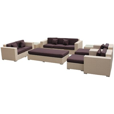 Eclipse 9 Piece Deep Seating Group with Cushions Finish: Tan, Fabric: Brown
