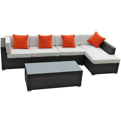 El 5 Piece Sectional Deep Seating Group with Cushions