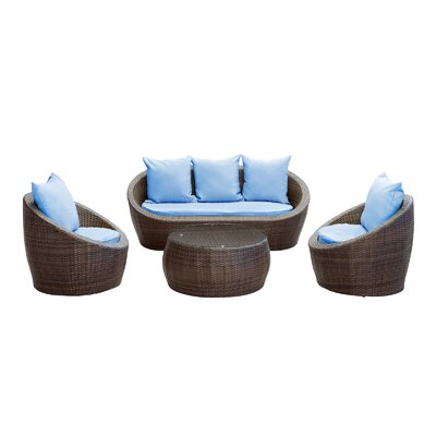Triumph 4 Piece Seating Group with Cushions Fabric: Light Blue