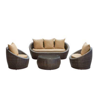 Triumph 4 Piece Seating Group with Cushions Fabric: Mocha