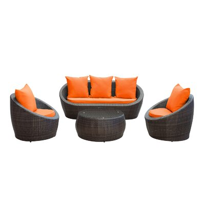 Triumph 4 Piece Seating Group with Cushions Fabric: Orange