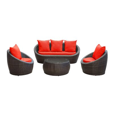 Triumph 4 Piece Seating Group with Cushions Fabric: Red