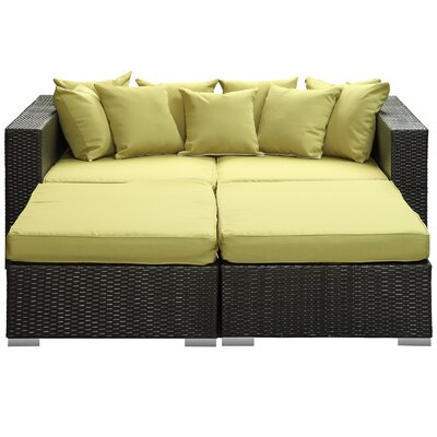 Fence 4 Piece Outdoor Patio Daybed with Cushions Finish: Espresso, Fabric: Peridot