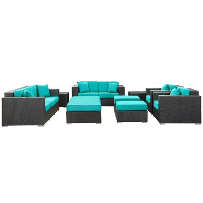 Eclipse 9 Piece Deep Seating Group with Cushions Finish: Espresso, Fabric: Turqoise