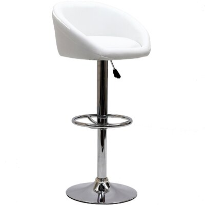 Marshmallow Adjustable Height Swivel Bar Stool Upholstery: White