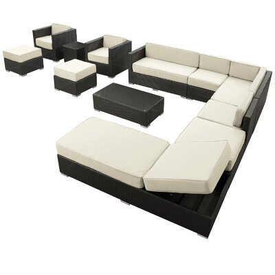 Fusion 12 Piece Sectional Deep Seating Group with Cushions Fabric: Brown, Finish: Tan