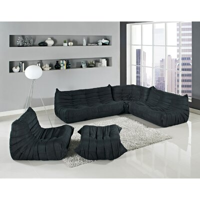 Waverunner 5 Piece Living Room Set Upholstery: Black