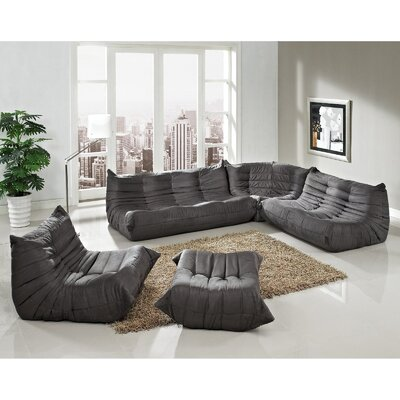 Waverunner 5 Piece Living Room Set Upholstery: Light Gray