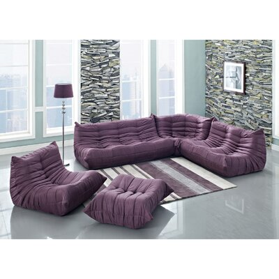 Waverunner 5 Piece Living Room Set Upholstery: Purple