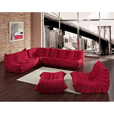 Waverunner 5 Piece Living Room Set Upholstery: Red