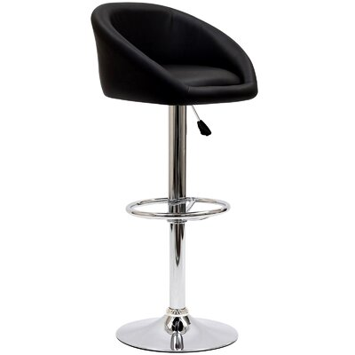 Marshmallow Adjustable Height Swivel Bar Stool Upholstery: Black