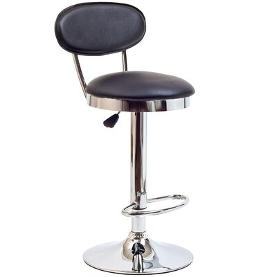 Retro Adjustable Height Swivel Bar Stool Upholstery: Black