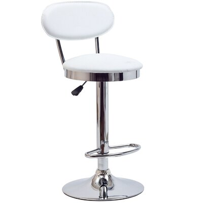 Retro Adjustable Height Swivel Bar Stool Upholstery: White