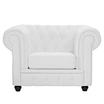Chesterfield Arm Chair Color: White