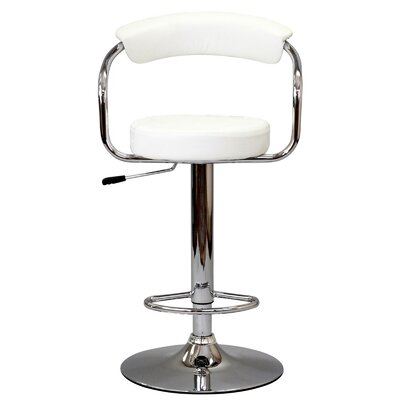 Diner Adjustable Height Swivel Bar Stool Upholstery: White