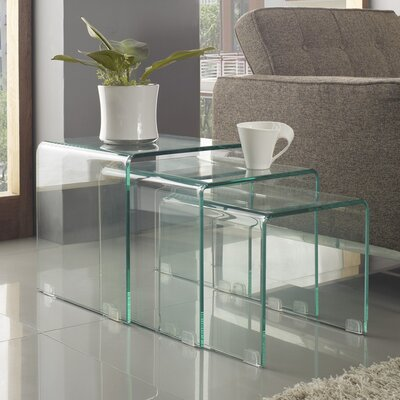 LexMod Casper Nesting Tables in Glass, 3-Piece Set