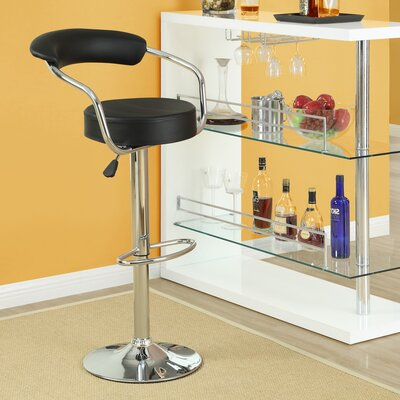 Diner Adjustable Height Swivel Bar Stool Upholstery: Black