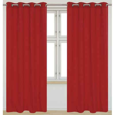 LJ HOME Karma Faux Cotton Grommet Curtain Panels (Set of 2) - Color: Rhubard Red