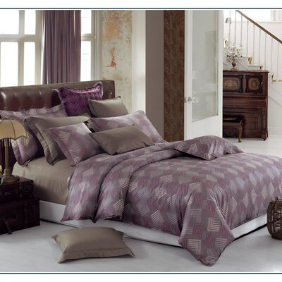 Quartz Cotton 3 Piece Reversible Duvet Set Size: Queen