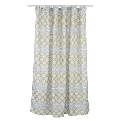 Vogue Line Design Shower Curtain Set Color: Linen Beige/Light Green/Grey