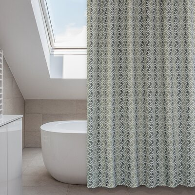 Metro Shower Curtain Set Color: Linen Beige/Green/Grey