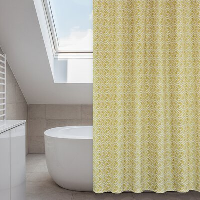 Metro Shower Curtain Set Color: Linen Beige/Yellow