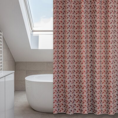 Metro Shower Curtain Set Color: Linen Beige/Red