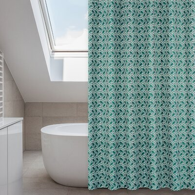 Metro Shower Curtain Set Color: Linen Beige/Dark Green