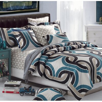Radius Cotton 3 Piece Reversible Duvet Set Size: Full/Double