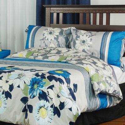 Rosewood Cotton 3 Piece Reversible Duvet Cover Set Size: Queen