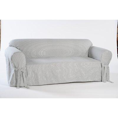 Stripe Twill Sofa Slipcover Upholstery: Blue