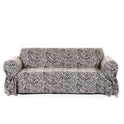 Zebra Print Box Cushion Sofa Slipcover