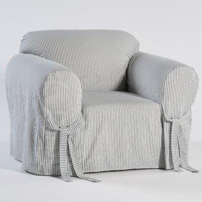 Stripe Twill Armchair Slipcover Upholstery: Navy