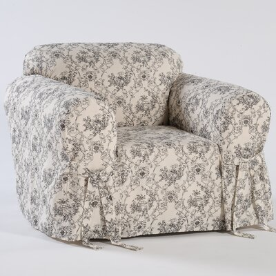 Toile Print Box Cushion Armchair Slipcover