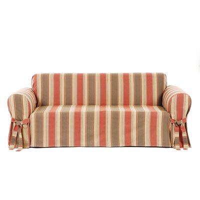 Box Cushion Sofa Slipcover Upholstery: Rust