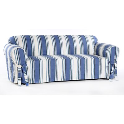Stripe Duck Sofa Slipcover Upholstery: Blue