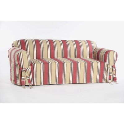 Sofa Box Cushion Cotton Duck Slipcover Upholstery: Red