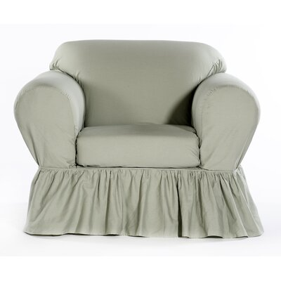 Shabby Chair Skirted Slipcover Upholstery: Green