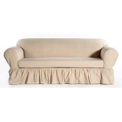 Sofa Skirted Box Cushion Slipcover Upholstery: Khaki