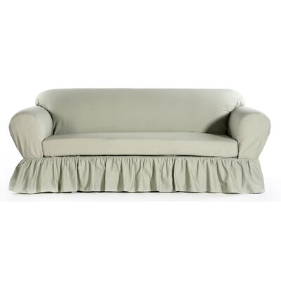 Loveseat Skirted Slipcover Upholstery: Green