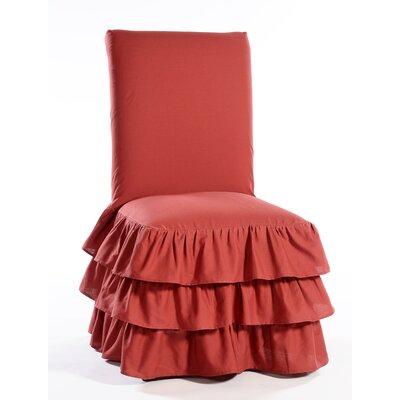 Parson Chair Skirted Slipcover Upholstery: Red