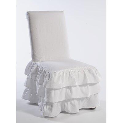 Parson Chair Skirted Slipcover Upholstery: White