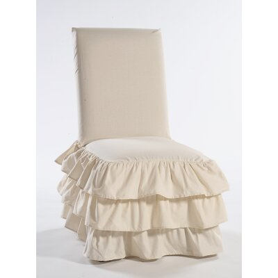 Parson Chair Skirted Slipcover Upholstery: Natural