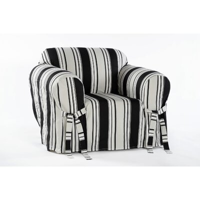 Cotton Duck Box Cushion Armchair Slipcover Upholstery: Black