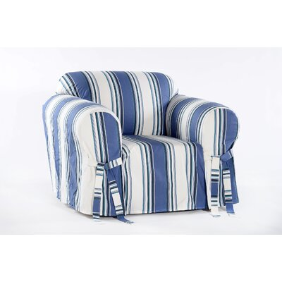 Cotton Duck Armchair Slipcover Upholstery: Blue