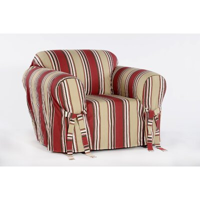 Cotton Duck Box Cushion Armchair Slipcover Upholstery: Red