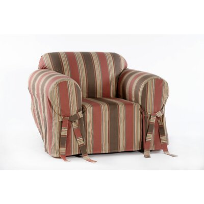 Cotton Duck Box Cushion Armchair Slipcover Upholstery: Rust