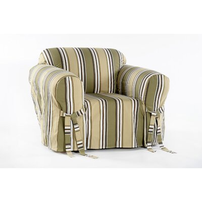Cotton Duck Armchair Slipcover Upholstery: Sage